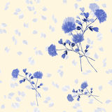 Seamless pattern watercolor of blue flowers and bouquets on a light yellow background stock photo