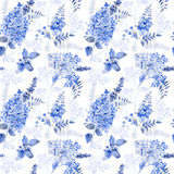 Seamless pattern. Watercolor blue hydrangea, lavender, currant. Stock Photography