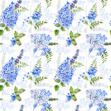 Seamless pattern. Watercolor blue hydrangea, lavender, currant. Royalty Free Stock Image