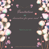 Template postcard with the watercolor pink abstract flowers and berries, wedding design, greeting card or invitation Stock Photos