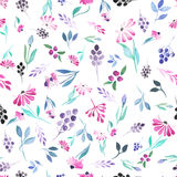 Seamless pattern of watercolor blue leaves, purple flowers and berries stock illustration