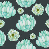A seamless pattern with the watercolor blue and mint succulents Stock Photo