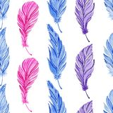 Seamless pattern with watercolor blue, pink, purple feathers. Boho style stock illustration