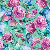 Seamless pattern of watercolor blue and red peonies and leaves. On green background Royalty Free Stock Photos