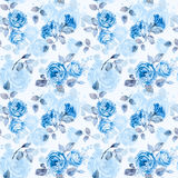Seamless pattern of watercolor blue  roses. Stock Photography