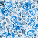 Seamless pattern of watercolor blue  roses. Royalty Free Stock Photos