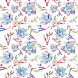 Seamless pattern with watercolor blue succulents. Stock Photography