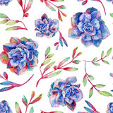 Seamless pattern with watercolor blue succulents. Royalty Free Stock Photo