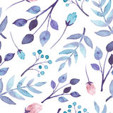 Seamless Pattern With Watercolor Blue And Violet Leaves Royalty Free Stock Image