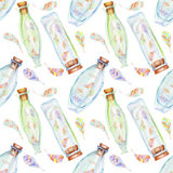 Seamless pattern with watercolor bottles with air abstract feathers inside. Hand drawn isolated on a white background Vector Illustration