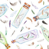 Seamless pattern with watercolor bottles and air feathers inside. Hand drawn isolated on a white background Stock Photos