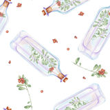 Seamless pattern with watercolor bottles with cowberry branches inside Stock Photography