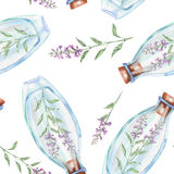 Seamless pattern with watercolor bottles with salvia flowers inside Royalty Free Stock Image