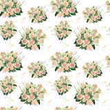 Seamless pattern of watercolor bouquet of roses. Seamless pattern of watercolor bouquet of yellow roses. watercolor print for clothes, logo, banner, flayer Royalty Free Stock Photography