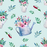 Seamless pattern. Watercolor bouquets of flowers Stock Image