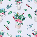 Seamless pattern. Watercolor bouquets of flowers Royalty Free Stock Images