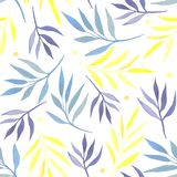 Seamless pattern with watercolor branches vector illustration