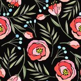 Seamless pattern with watercolor branches, flowers and berries stock illustration