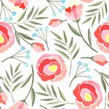 Seamless pattern with watercolor branches, flowers and berries royalty free illustration