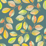 Seamless pattern with the watercolor branches with green and yellow leaves, hand painted on a dark green background Stock Image
