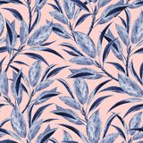 Seamless pattern with watercolor branches stock illustration