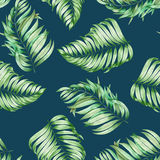 A seamless pattern with the watercolor branches of the leaves of a palm painted on a dark blue (indigo) background