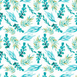 Seamless Pattern of Watercolor Bright Blue Leaves Royalty Free Stock Image
