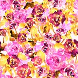 Seamless pattern of watercolor bright pink roses and leaves. Seamless watercolor hand drawn pattern of briht pink roses and leaves Royalty Free Stock Photos