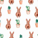 Seamless pattern with watercolor brown rabbits, and cactus flowers in the pots. royalty free illustration