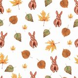 Seamless pattern with watercolor brown rabbits, floral leaves elements, hand drawn isolated on a white background. stock illustration