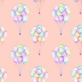 Seamless pattern with watercolor bundle of balloons. Hand drawn isolated on a pink background Stock Photo