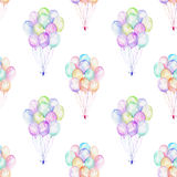 Seamless pattern with watercolor bundle of balloons. Hand drawn isolated on a white background Stock Photo