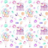 Seamless pattern with watercolor bundle of balloons, sweets candies, marshmallow and paste and cotton candy. Hand drawn isolated on a white background Stock Images