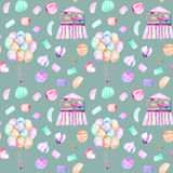 Seamless pattern with watercolor bundle of balloons, sweets candies, marshmallow and paste and cotton candy. Hand drawn isolated on a dark blue background Royalty Free Stock Image