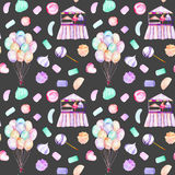 Seamless pattern with watercolor bundle of balloons, sweets candies, marshmallow and paste and cotton candy. Hand drawn isolated on a dark background Royalty Free Stock Photo