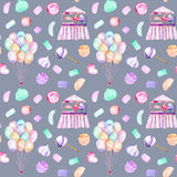 Seamless pattern with watercolor bundle of balloons, sweets candies, marshmallow and paste and cotton candy. Hand drawn isolated on a dark blue background Stock Images