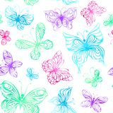 Seamless pattern of watercolor butterflies. Colourful butterflies on white background. Vector illustration Stock Images