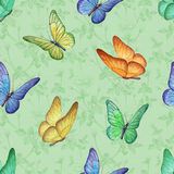 Seamless pattern with watercolor butterfly Stock Photography
