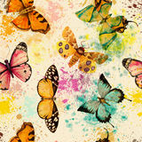 Seamless pattern with watercolor butterfly Stock Photo