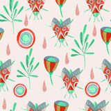 Seamless pattern with watercolor butterfly, flowers and branches stock illustration