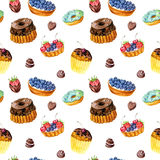 Seamless pattern with watercolor cakes Royalty Free Stock Photos
