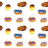 Seamless pattern with watercolor cakes Royalty Free Stock Photo