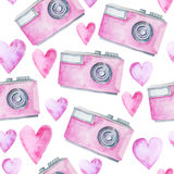 Seamless pattern with watercolor camera royalty free illustration