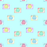 Seamless pattern with watercolor cameras Royalty Free Stock Photography