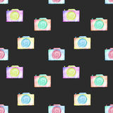 Seamless pattern with watercolor cameras Stock Photo