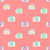 Seamless pattern with watercolor cameras Royalty Free Stock Images