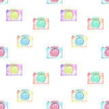Seamless pattern with watercolor cameras Stock Photos