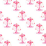 Seamless pattern with watercolor carousel from the amusement park Stock Photo