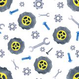 Seamless pattern with watercolor cars spare parts. Design of children`s clothing, wallpaper, packaging, background, wall vector illustration