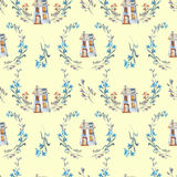 Seamless pattern with watercolor cartoon private houses inside the floral wreaths Stock Photography